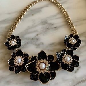 Jewelry - Vintage Black enamel fine stone Designer Necklace